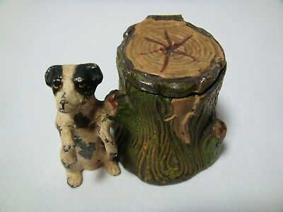Antique Cold Painted Pot Metal Terrier Dog by Tree Stump Inkwell Heyde Germany