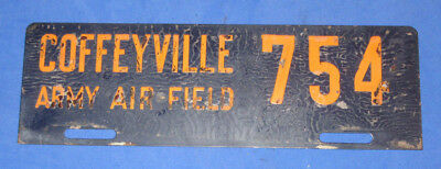 WWII U.S. Army Air Corps COFFEYVILLE Kansas ARMY AIR FIELD License Plate #754