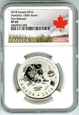 2018 $10 Canada Silver 10 Dollar 100Th Armistice Wwi Ngc Sp69 First Releases