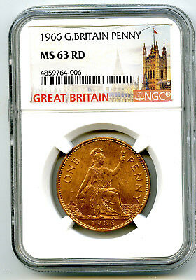 1966 Great Britain Britannia Large Copper Penny Ngc Ms63 Rd Low Mintage