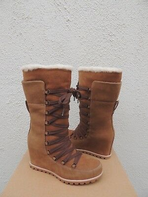 7bfb725d6e0e Ugg Mason Corset Lace Wp Suede  Sheepskin Lined Wedge Boots
