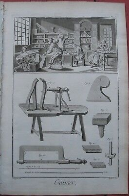 """1765 Set of Six Diderot Engravings- """"Gainier"""" - Case Maker - Musical Instruments"""
