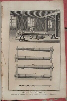 1765 Three Diderot Engravings - CANNON FOUNDRY - Barrel Manufacture & Sizing