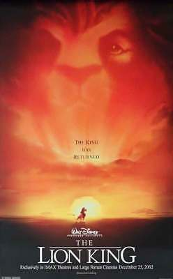 """The Lion King Original Movie and IMAX Re-release Poster - 2-sided -- 27 x 40"""""""