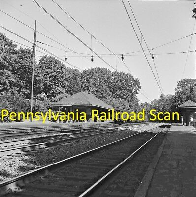Pennsylvania Railroad Original B&w Railroad Negative Mu Train At Merion In 1966