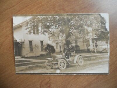 Old Vintage Car with TWO MEN  RPPC