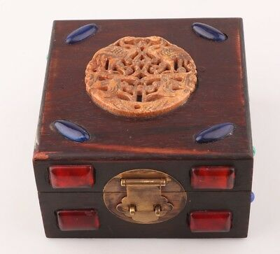 China Precious Wooden Gem Unique Handmade Jewelry Box Old Antique Collection