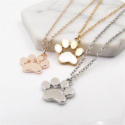 Women Fashion Cute Pets Dog Cat Footprints Paw Chain Pendant Necklace Jewerly