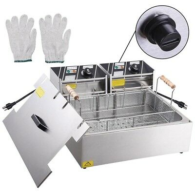 Commercial 5000W 20L Electric Countertop Deep Fryer Single Large Tank Basket