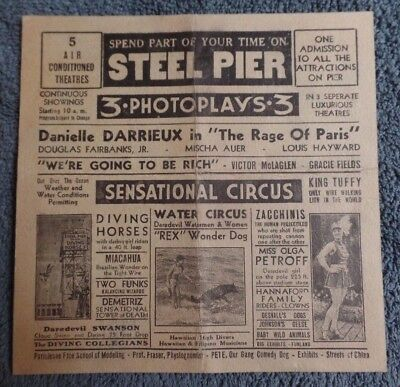 1930s STEEL PIER Atlantic City NJ Souvenir Flyer Abbott & Costello Diving Horses