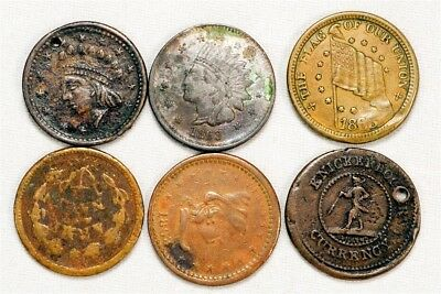 6pc Lot of Patriotic Civil War Tokens - Dix, Indian Head, Army/Navy & More