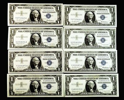 1957 $1 Silver Certificates - Choice UNC - 4 Pair Consecutive S/N - FR.1619