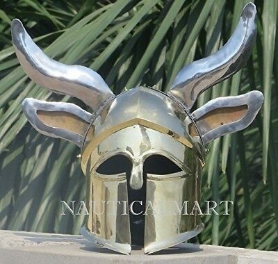 AXE EFFECTSCA Medieval Wearable Greek Corinthian Helmet Free Leather Liner Knigh