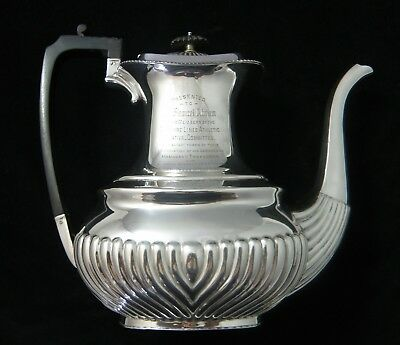A Stunning antique SILVER PLATE TEAPOT dated Sept. 11 1909 by Richard Richardson