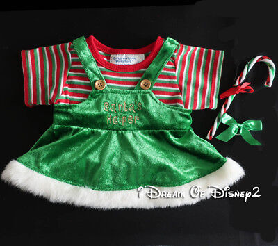 Build-A-Bear SANTA'S HELPER CHRISTMAS GIRL ELF & CANDY CANE Teddy Clothes Outfit