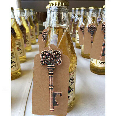 50×Vintage Metal Skeleton Key Shape Beer Bottle Opener +Tag Bridal Wedding Favor