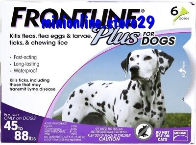 Frontline Plus For Large Dogs 45-88 lbs (20-40kg) 6 Month Supply, FREESHIP