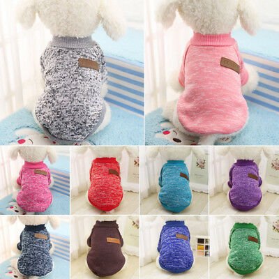 Classic Pet Hoodie Dog Puppy Cat Pussy Jumper Knit Sweater Coat Small/Large UK