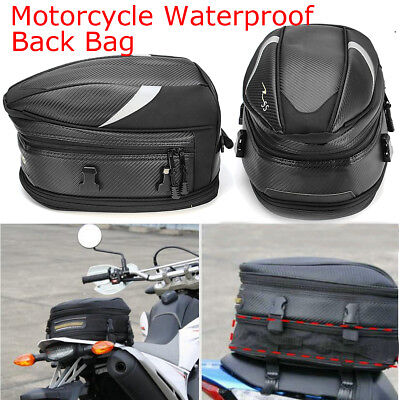 Portable Black Motorcycle Touring Rear Pillion Seat Tail Expandable Bag Luggage