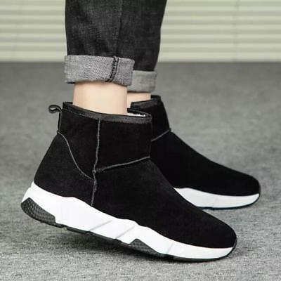 Men Winter Ankle Boots Suede High Top Zip Thermal Warm Shoes Black Yellow Grey