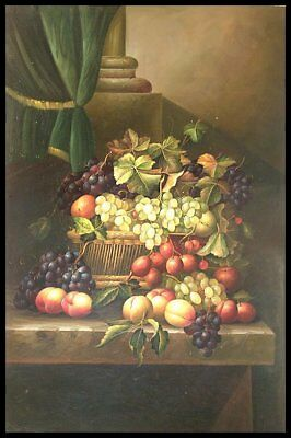 """36""""x24"""" Oil Painting on Canvas, Still Life with Fruit, Genuine Hand Painted"""