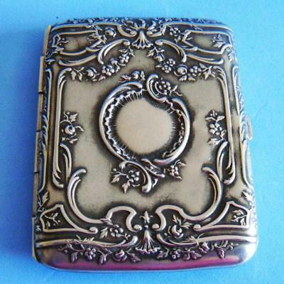 L@@k Fantastic Vintage Art Nouveau Silverplate Nature Flowers Cigarette Case!
