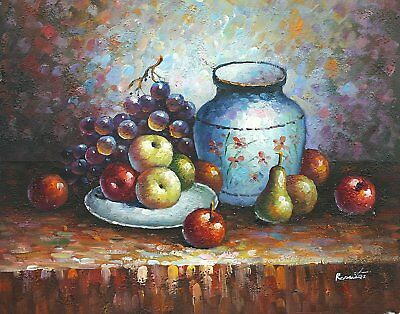 """16""""x20"""" Oil Painting on Canvas, Fruit Still Life, Genuine Hand Painted"""