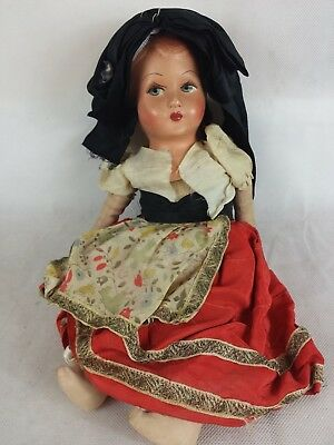 Vintage French doll papier mache head original clothes ?1940s