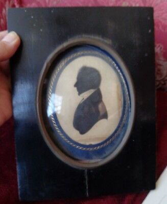 ANTIQUE 19thc 1830's  PORTRAIT  MINIATURE  SILHOUETTE  GENTLEMAN