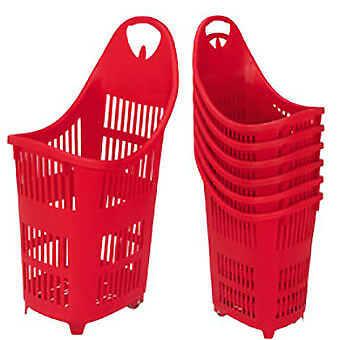 70L Rolling Shopping Baskets Black/Red