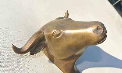 "BULL COAT HOOK solid AGED brass antiques vintage old style 6"" hook heavy"