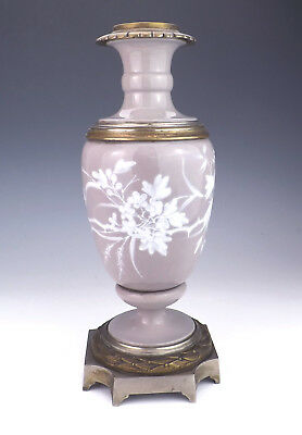 Antique French Porcelain - Pate Sur Pate - Flower Decorated Oil Lamp Base