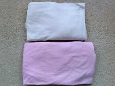 2 x Cot Bed Fitted Jersey Sheets Pink & Natural 70cm x 140cm
