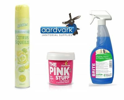 Mrs Hinch Cleaning Bundle Pink Stuff, Brite 750ml, Citrus Squeeze Air Freshener