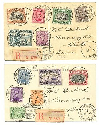 BELGIUM 1916 USED P.O. IN -LE HAVRE -FRANCE --2 x REG PPC TO SWITZERLAND F/VF