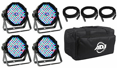 American DJ MEGA FLAT PAK PLUS Church Stage Wash Light Kit 4) Lights+Bags+Cables