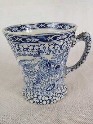 Vintage William Adams Chinese Bird Blue & White funnel shape mug 1920 No 623294