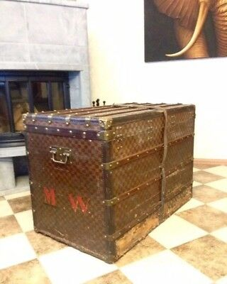 BEST PRICE!!!! Rare Vintage Damier Canvas Louis Vuitton Steamer Trunk Box Table