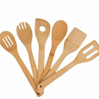 6PCS Bamboo Wooden Cutlery Set Spoon Fork Cutter Cutting Reusable Kitchen Tool