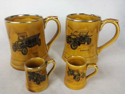 Set of 4 Wade pottery collector tankards Veteran Car Club of G.B. Little & large