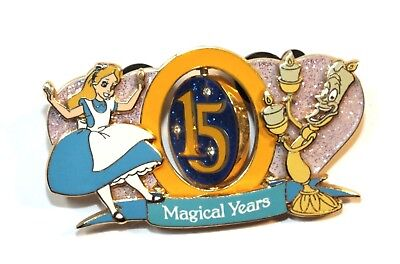 Disney Pin Trading Alice in Wonderland Beauty Beast Lumiere 15 Magical Years