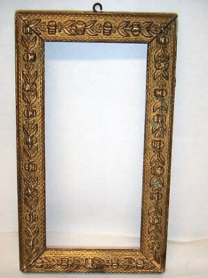 Antique Victorian Gold Painted Gesso on Wood Picture Frame w/ Floral Motif