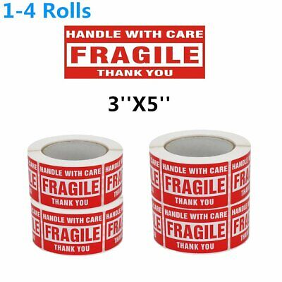 3x5 FRAGILE Handle With Care Mailing Shipping Warning Stickers 500 Per Roll