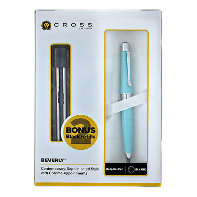 Cross Beverly Ballpoint Pen - Blue - with 2 Free Refills - New - AT0492H-18/18