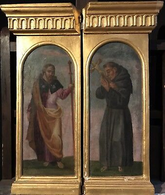 FINE 17th CENTURY FLEMISH OLD MASTER DIPTYCH - TWO PANELS - MALE SAINTS ARCH TOP