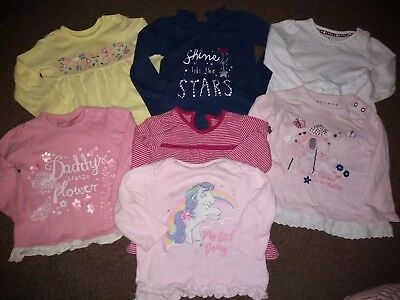 Baby Girls 7 Long Sleeved Tops 9-12 Months