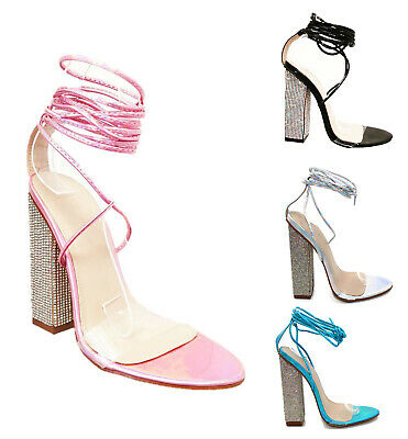 Women Ladies Ankle Strap Lace Up Diamante High Block Heel Perspex Party Sandals