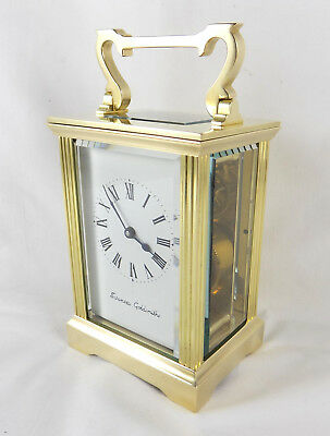 8 Day Brass Carriage Clock By Swansea Goldsmiths - Fully Cleaned And Serviced