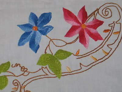 Antique Vintage Tablecloth Gorgeous Hand Embroidery Off White Colorful Florals