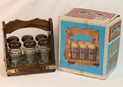 Vintage NEVCO Wood Wooden Portable Spice Caddy Rack Herb Apothecary Glass Jars